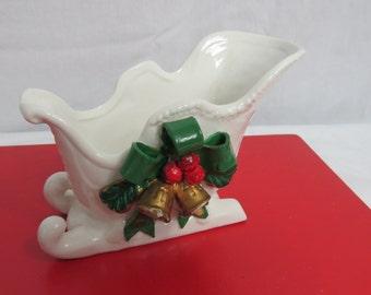 Vintage 1950's White Ceramic Winter Christmas Sleigh Planter or Vase  Box T