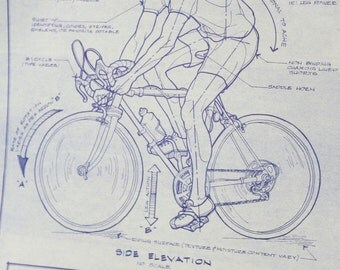 1980's Funny Comical Blueprint Drawing of Engineers Cycling