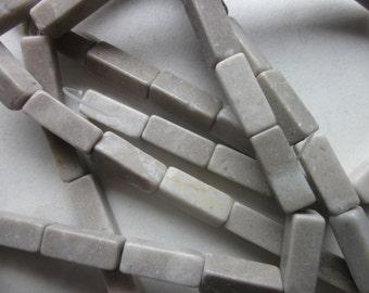 Marble Cream/Gray Rectangle Beads 18x7-19x7mm 12 Beads