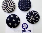 Indigo Linen Magnet Set - Covered Button Magnets Super Large 38mm x 4
