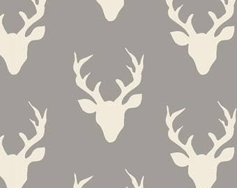 Buck Forest Mist Hello Bear Bonnie Christine Art Gallery Fabrics Grey Gray Ivory Deer Stag Head Antlers Boy Fabrics Hunting Yard Half Yard