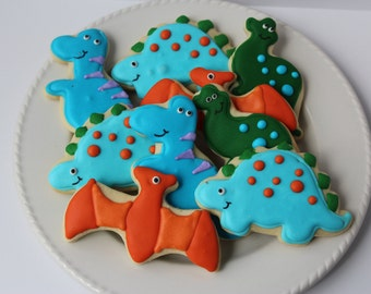 Dinosaur Cookies, sugar cookies, dinosaur party, decorated cookies, dinosaur birthday, dinosaur favors