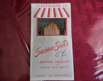 Vintage 1940s to 1950s Susan Bates Needles Made in England Sewing Needles (20) Sewing Notions