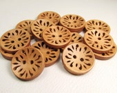"Golden Oak: 7/8"" (22mm) Openwork Wood Buttons - Set of 15 New / Unused Buttons"