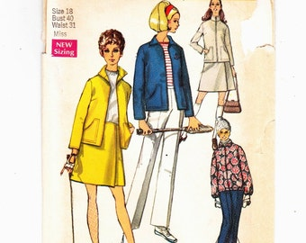 Simplicity 8754 Active Sportswear Pattern Sportswear: Skiing, Golf, Tennis,Jacket Wrap Skirt & Pants Size 18