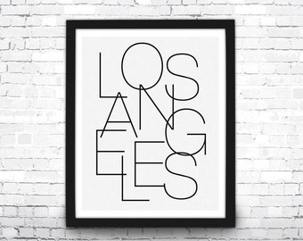 Los Angeles Art Print, Black and White Typography Art, Modern Art Print, Los Angeles Typography, Typography Poster, Los Angeles Poster, LA