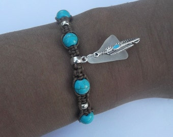 Turquoise beaded bracelet. Wrap bracelet. Turquoise friendship bracelet. Sea glass  bracelet. Feather bracelet.