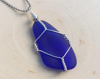 The Siren- Deep Blue Sea Glass Pendant- Rare Color