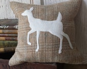 Deer Pillow Cover - Whitetail Deer Silhouette Pillow, Recycled Wool Pillow, Woodland Animal Pillow, 14 Inch - FREE SHIPPING
