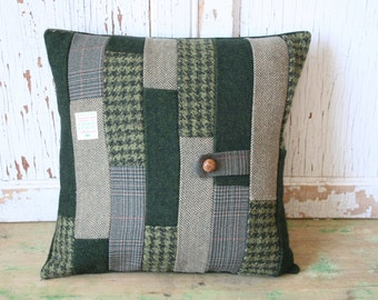 Patchwork Pillow Cover - Recycled Green Tweed, Wool 14 Inch - FREE SHIPPING