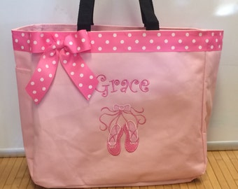Personalized Girls Ballet Slippers Ballerina Tote Bag Baby Diaper Bag