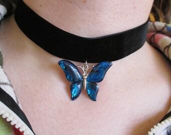 Glass Butterfly Velvet Choker