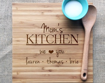 """Mom's Kitchen Personalized Engraved Cutting Board, Personalized With Names Of Children, """"We Love You"""" Personalized Bamboo Cutting Board"""