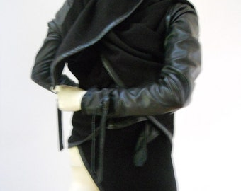 MARIA SEVERYNA Asymmetric Draped Leather Trimmed Jacket made in Black Brushed Cotton Twill