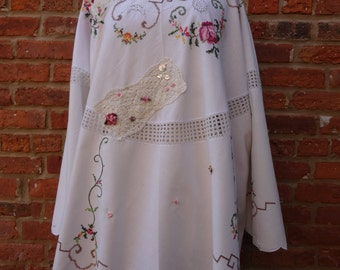 Boho Tunic,Upcycled Tunic,Embroidered Tunic,Cottage Chic Tunic,Shabby Chic Tunic,Nine Muses Of Crete
