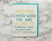 Funny Birthday Card. Friendship Card. Eco Friendly Card. 100% Cotton Paper.