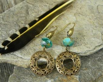 Delicate filigree earrings beaded jewelry bohemian jewelry dangle earrings summer fashion bohemian earrings gypsy free spirit