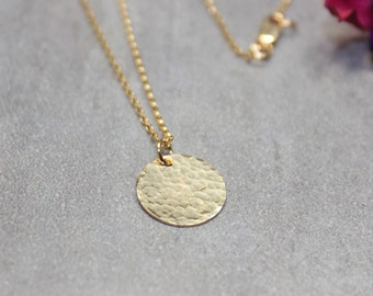 Simple Gold Filled Necklace Tiny Disk Necklace Delicate Necklace.