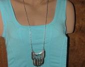 Necklace Large Feathers Turquoise Tribal Southwestern Style
