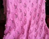 Pretty in Pink Posie Hand Knit Baby Blanket / Afghan