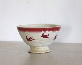 Antique Cafe Au Lait Bowl, Shabby Chic, Pink Swallows, Tea Stained
