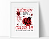 PRINTABLE nursery art, Lady bug, Nursery Wall Art, Birth Stats, Ladybug, Birth Announcement, digital nursery art, Personalized Childrens