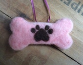 Dog Bone Paw Print Best Friend Ornament Needle Felted Christmas Holiday