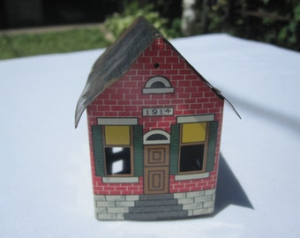 Tin Litho House Candy Container