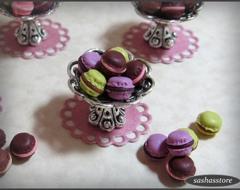 12th scale miniature macarons, dollhouse miniature macaroons, dollhouse food, french food