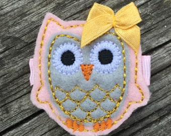 Pink Gray Gold Felt Owl Hair Clip Baby Toddlers Girls