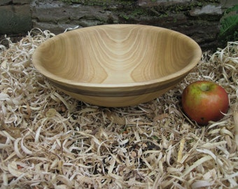 "Large Poplar Wood Bowl with Textured Rim 11"" diameter  Bowl Dough Bowl Fruit Bowl Rustic wood Bowl Large wood bowl"
