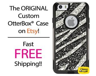 iPhone OtterBox Commuter Case for iPhone 7, 7 Plus, 6/6s, 6 Plus/6s Plus, 5/5s/SE, 5c Galaxy S7 S6 S5 Note 5 Custom Zebra Faux Glitter Case