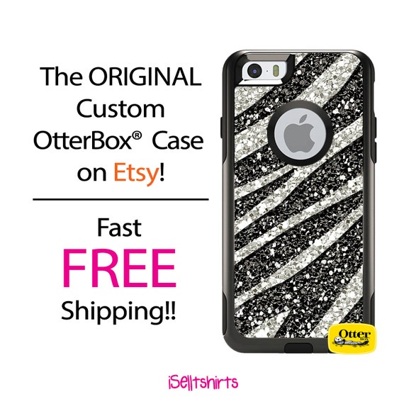 iPhone OtterBox Commuter Case for iPhone 6/6s, 6 Plus/6s Plus, 5/5s, 5c, 4/4s, Galaxy S6 S5 S4 Note 5 4 Custom Zebra Faux Glitter Phone Case