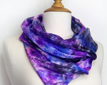 Hand painted purple silk scarf. Luxurious violet tones painted on a pure silk foulard, 90 cms x 90 cms. Made in France