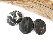 Stone Pendants Top Drilled Rocks Mediterranean River Stone Beads Natural Stone Beads DIY Jewelry Findings BLACK n WHITE 33-34 mm