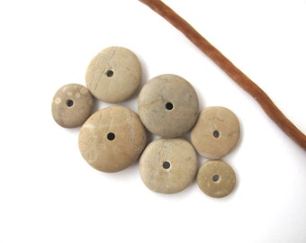 Beach Stone Donut Beads Mediterranean Pebble Spacers Center Drilled Natural Stones Diy Jewelry River Stone Beads EARTHY WHEELS 14-24 mm