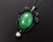 RESERVED: Jadeite cab pendant of lotus flowers and leaves