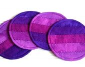 Fabric Coaster Set, Quilted Coasters, Purple Ombre