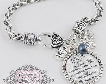 Nana of the Bride Bracelet, Personalized Wedding Bracelet, Message, Thank you Gift,Wedding Bridal Jewelry, Wedding Gifts for Parents, Bridal