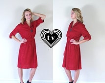 Half Off vtg 70s RASPBERRY fold up sleeves DOLLY DRESS retro Medium terrycloth simple indie hipster boho