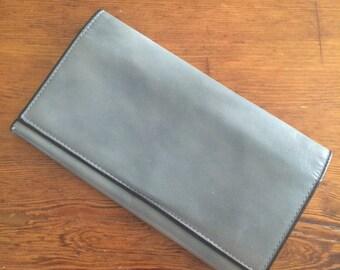 Grey leather women's wallet