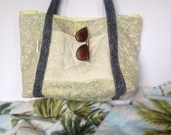 Yellow, Green and Gray Quilted Batik Beach Bag
