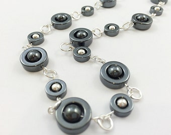 Hematite Necklace / Stone Necklace / Gemstone Necklace / Gunmetal Grey Necklace / Metallic Necklace