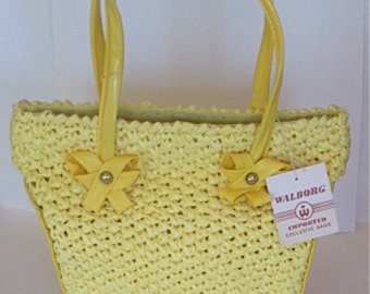 Vintage 1960s60s NOS Walborg / Japan / Bright Yellow Raffia Straw Woven Handbag / Purse / So MOD
