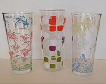 Vintage 50s60s Tumblers / Drinking Glasses / Horse Racing / Birds / MOD