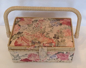 Vintage 1960s 60s Shabby Floral Cloth Covered Sewing Box / Kit /Swing Handle