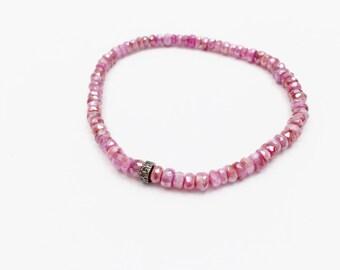 Pave Diamond Bead and Pink Sapphire Silverite Beaded Bracelets, Summer Bracelets, Spring Colors, Diamond Bracelets