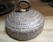 Straw Basket Vintage Dusting Powder Container