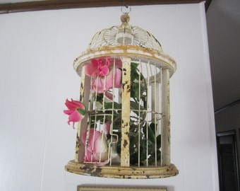 Bird Cage Distressed Wood and Wire Hanging Birdcage Wedding Shabby Decor