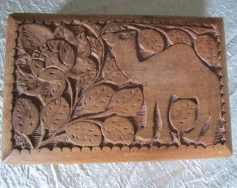 Carved Wood Box Secret Lock Container Storage Stash Jewelry Private Diary Love Letters